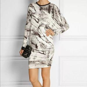Helmet Lang Marble Print Jersey Knit Tunic Dress